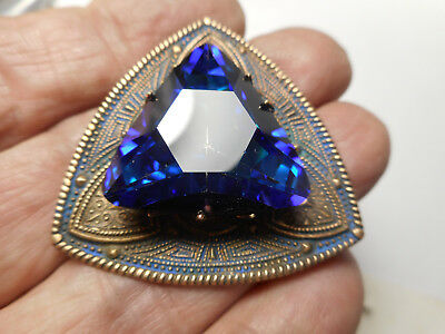 """Triangle Foiled Blue Glass Jewel Brass Vintage Button 1-5/8"""" Gay 90's Style"""