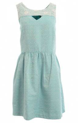 RETAIL $119 Kensie Tahiti Teal Combo Dotted Brocade Embroidered Dress Size M