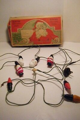 Vtg 1920's 30's Electric Decortive Christmas Tree Lights W/3 Santas 1 Snowman