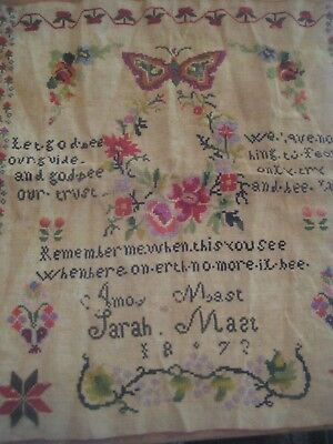 Antique Victorian Cross Stitch SAMPLER c1873 Folk Art
