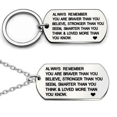 Creative Stainless Steel Necklace Always Remember You are Braver Stronger W