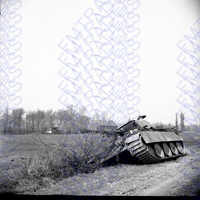 "WW2 Orig Snapshot Negative, 2.25x2.25"" German Tank Out of Comission 4933"