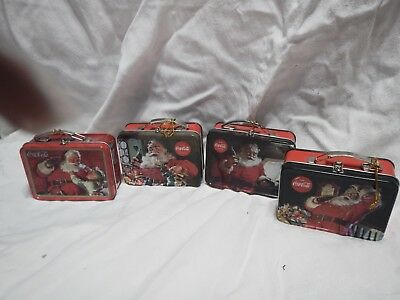 4 Different Coca-Cola Santa's on Tin Square Lunch Box Ornaments