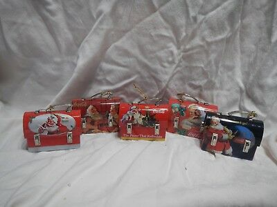 5 Different Coca-Cola Santa's on Tin Lunch Box Ornaments