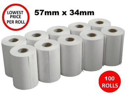 100 x Thermal Paper 57x34mm EFTPOS Rolls for ANZ CBA Albert NAB Westpac 100x POS