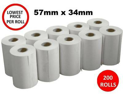 200 x Thermal Paper 57x34mm EFTPOS Rolls for ANZ CBA Albert NAB Westpac POS 200x