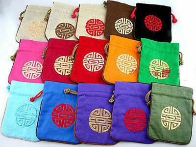 5pcs Chinese Vintage Embroider Silk jewelry Pouch Coin Purse Gift Bag