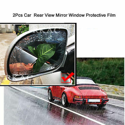 2Pcs Auto SUV Blue Oval Car Anti Fog Rainproof Rearview Mirror Protective Film