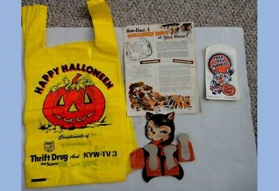 LOT vintage HALLOWEEN TREAT BAGS party ACCORDION CAT