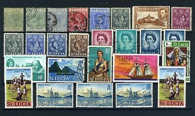St Lucia Small collection from 1800-1900's QV to QEII used and mint