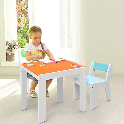 Kids Wood Owl Table Chair Play Set Toddler Baby Learning