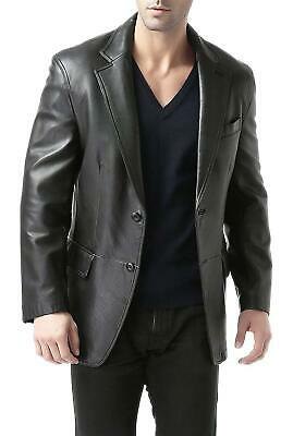 Men's Blazer Black Long Lapel Tailored Fit Soft Leather Jacket Coat