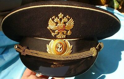 Original Russian Naval Officers Hat / Cap With Badges And Braid Military Navy
