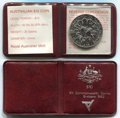 1982 Commonwealth Games $10 Sterling Silver Coin in RAM Presentation Wallet