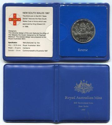 1987 NSW State Series $10 Sterling Silver Coin in RAM Presentation Wallet