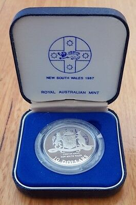 1987 NSW State Series $10 Proof Sterling Silver Coin in RAM Pack