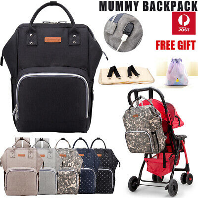 Multifunctional Waterproof Mummy Bag Baby Diaper Nappy Backpack with USB Port AU