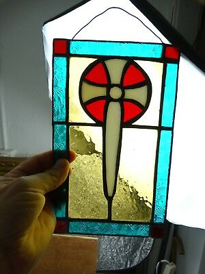 Old Scottish or Irish Celtic Stained Glass Crucifix Religious Cross Panel Europe