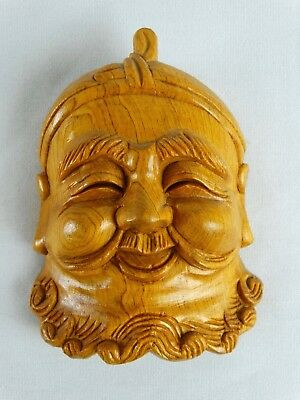 Vintage Japanese Hand carved Oak Noh Mask Fisherman Japan c1970s