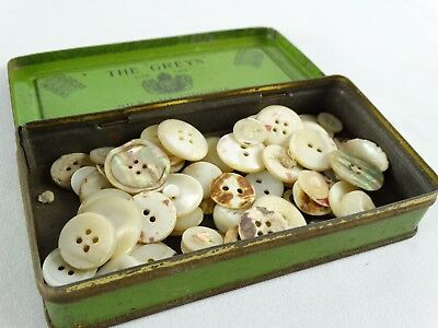 """Vintage London Cigarette Box """"The Greys"""" Silk Cut + Mother of Pearl Buttons"""