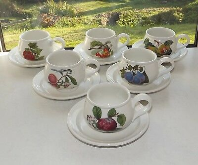Portmeirion Pottery Susan Williams Ellis Pomona 6 x Cups and Saucers
