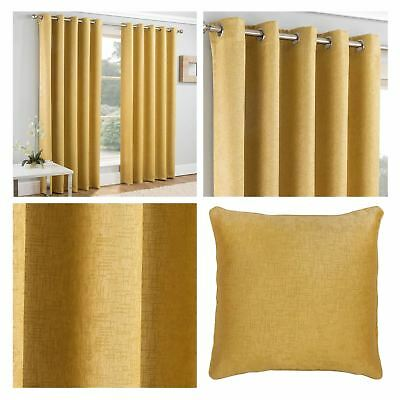 Ochre Vogue Thermal Block Out Eyelet Curtains Ring Top Blockout Curtain Pairs