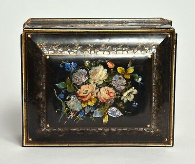 A Very Attractive Large Antique 19Thc Victorian Papier Mache Mother Pearl Box