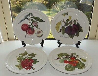 Portmeirion Pottery Susan Williams Ellis Pomona 4 x Dinner Plates Plum & Cherry