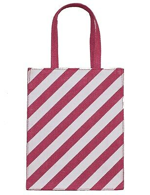 EWB 100%Natural Jute Reusable Eco Friendly Pink Stripe Gift Bag Xmas Occasion