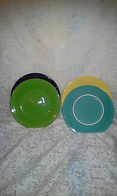 "4 DINNER PLATES set lot turquoise plum sunflower + FIESTA WARE 10.5"" NEW"