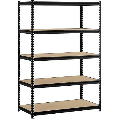 "5-Shelf Heavy-Duty Steel Shelving (48""W x 24""D x 72""H) Storage Organizer Black"