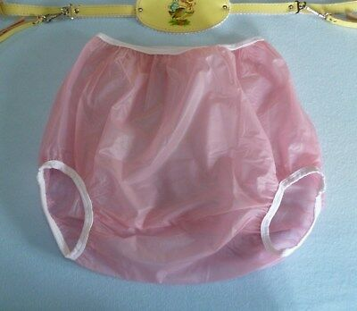 Adult Baby Plastic Pants Super soft Pink Semi-Transparent Baby Plastic.