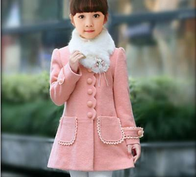 Kids new winter wool coat girls children thick quilted jacket Hot R92