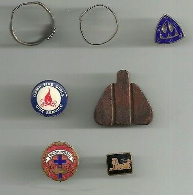Camp Fire Girls, Bluebirds: 2 rings & WO HE LO pinback (all sterling); 5 others