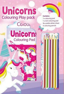 Unicorn Colouring Play Pack Set A4 Activity Colour Pencils Book Sticker Fun 3055