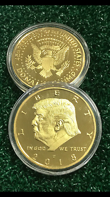 2018 President Donald Trump 24k Gold Plated Commemorative Coin USA SELLER
