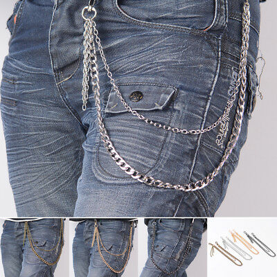 Men Rock Punk Hip Hop Biker Trucker Key Chains Jeans Trousers Wallet Waist Belts