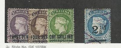 St. Helena, Postage Stamp, #37-39, 47 Used Revenue Cancels, 1884-93, JFZ
