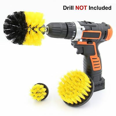 3x Stiff Brush with Drill Attachment Scrubbing Brushes for Cleaning Car Tire