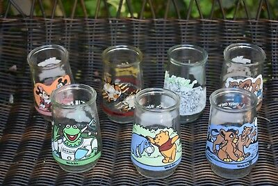 Lot of 7 Older Welch's Jelly Jar Drinking Glasses Collectible Asst CARTOONS