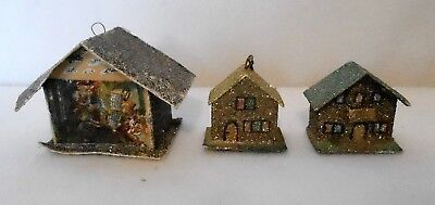 3 Vintage Christmas Putz Houses with Dark Mica, Made in Western Germany Stickers