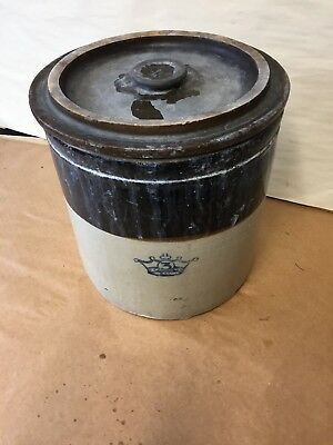 Vintage Blue Crown Robinson Ransbottom 3 Gallon Stoneware Crock with Lid