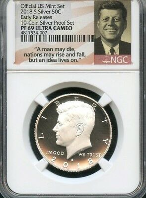 2018 S Silver Kennedy From 10-Coin Silver Set Early Releases NGC PF69 U.C. (S)