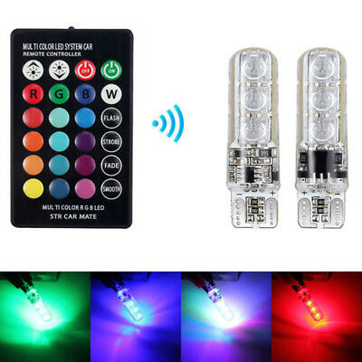 T10 5050 6SMD RGB LED Width Light with Remote Control License Plate Lamp Bulb x2