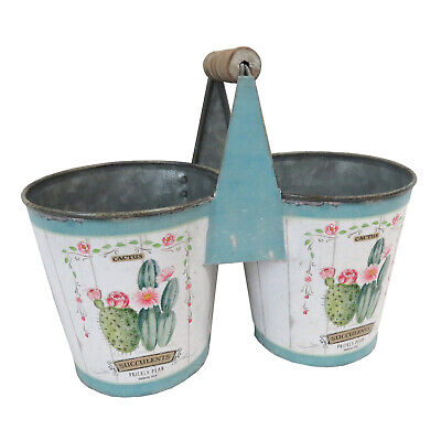 Shabby Chic Vintage Cactus Motif 2 Connected Tin Plantpots Handmade by AllChic