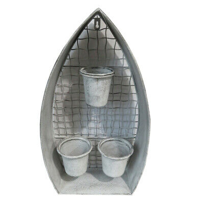 Unique Shabby Chic Tall Grey Plantstand with 3 Pots & Wire Frame