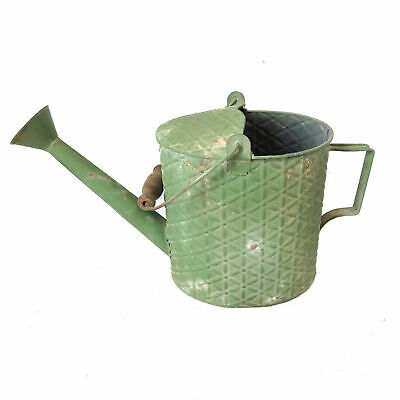 Handmade Shabby Chic Iron Watering Can with Green Textured Finish & 2 Handles