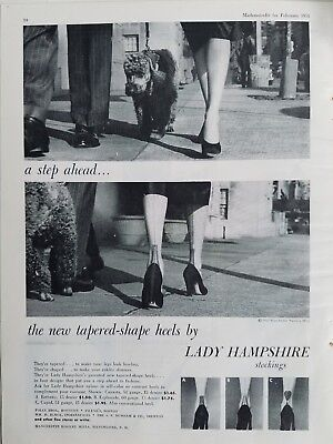 1951 women's Manchester Hosiery lady Hampshire stockings legs poodle ad