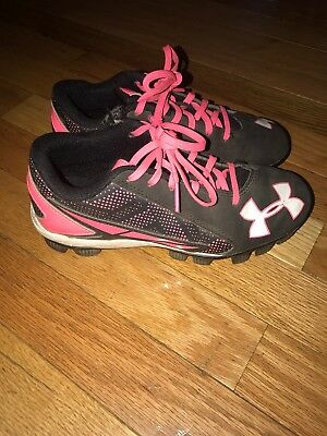 UNDER ARMOUR Baseball/Softball Cleats Black/Pink Youth Size 2Y Girls Shoes