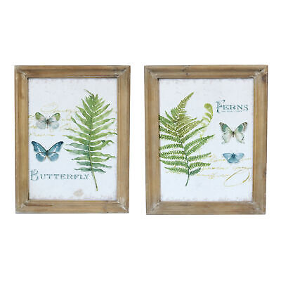 Shabby Chic Set of 2 Fern & Butterfly Botanical Canvas Prints with Wooden Frame